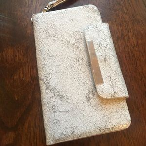 Vintage Silver marble phone clutch