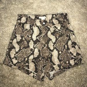 High waisted snake skin shorts