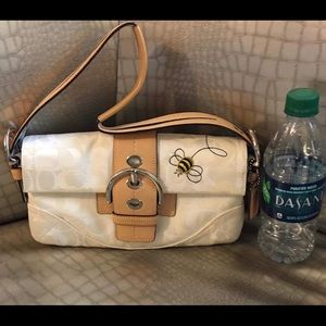 Coach White Embroidered Bee Handbag