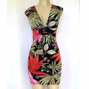 Cache Mini Dress Floral V Neck Size 2 Lined Multi