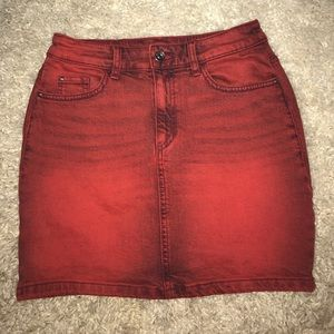 Red denim mini skirt