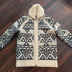 J Crew Abstract Fair Isle zip cardigan sweater