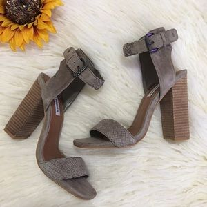 STEVE MADDEN Granada taupe suede chunky heels