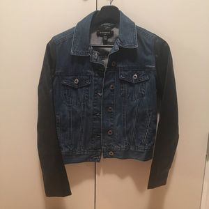 ByCorpus Denim Jacket with Faux Leather Sleeves