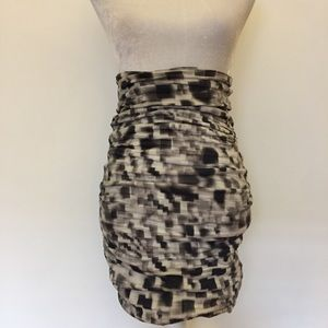 Black gray tie dye high waist pencil skirt