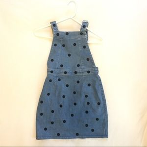 Polka dot denim overalls dress
