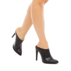Shoedazzle Black Faux Leather Sleek Mule Bootie