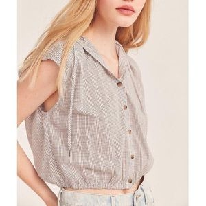 BDG (URBAN OUTFITTERS) HOODED BUTTON FRONT SHIRT
