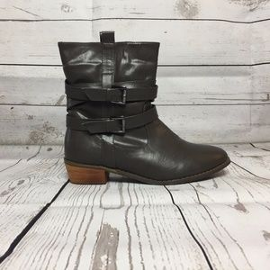 Shoes - New Grey Double Belt Buckle SlipOn Ankle Boot