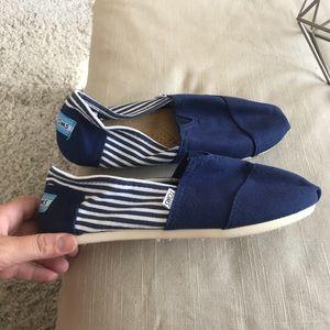 Blue & White Striped TOMS
