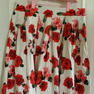 NWOT flower print A line skirt