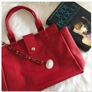 NWT Pretty Raspberry Red Faux Leather Tote Bag