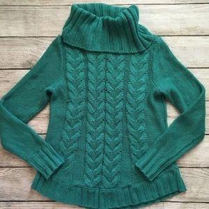 Sonoma Cowl Neck Sweater Green Women's Medium