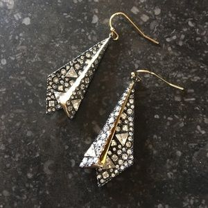 New Alexis Bittar Crystal Layered Origami Earrings