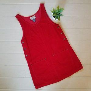 Vintage 90s Red Wide Wake Corduroy Jumper Dress