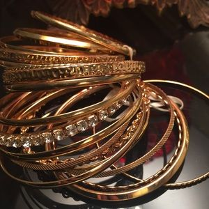 Double set of gold bangles