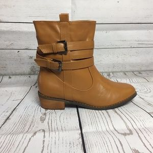 Shoes - New Brown Double Belt Slip On Ankle Bootie