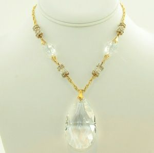 Necklace w/large teardrop crystal