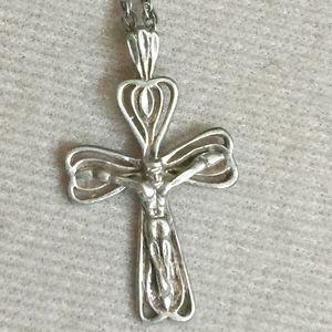 VTG Sterling Religious Christian Cross Necklace