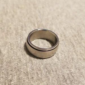 Silver Steel Spinner Fidget Ring Size 6 EUC