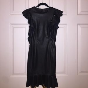 Never been worn black leather Zara dress