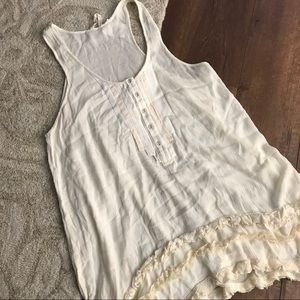 Free People large cream color tank with ruffles
