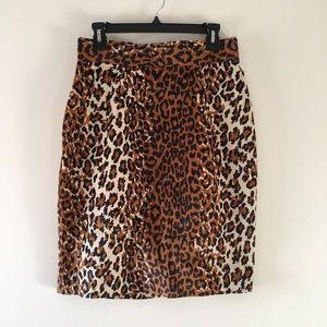 VINTAGE fuzzy leopard print pencil skirt sz 13/14