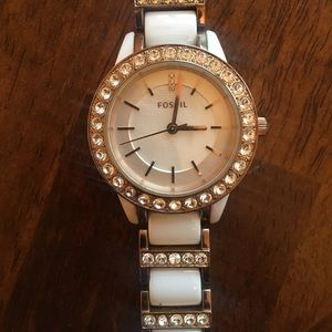 WHITE & GOLD CERAMIC FOSSIL WATCH