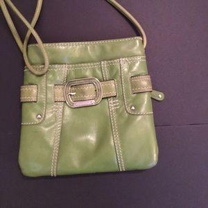 Tignanello Crossbody Purse Organizer Green Leather