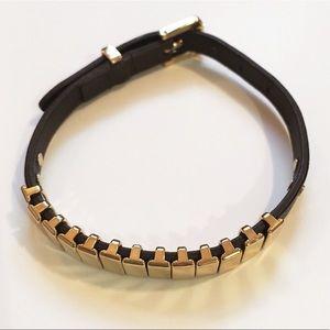 Michael Kors Leather Black and Gold Bracelet