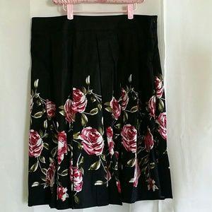 NWOT Pink flower print black A line skirt