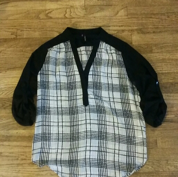 Maurices Tops Darling Black And White Checkered Sheet Blouse