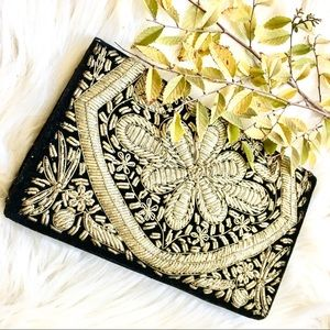 vintage velvet india embroidered clutch