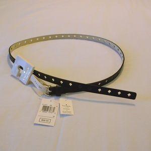 Kate Spade Women Black Leather Belt w/Spade cutout