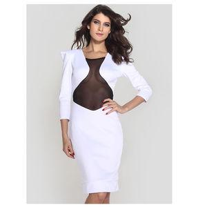 Dresses & Skirts - White Cleavage Revealing Midi Bodycon Dress