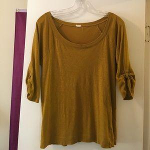 Mustard scoop neck shirt