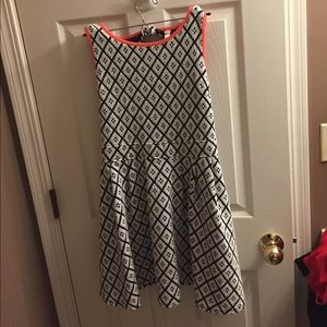Black and White Pattern Fit and Flare Dress