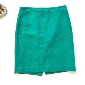 J.Crew pencil skirt double-serge wool green size 6