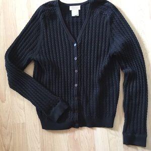 Talbots black cotton Lycra blend cardigan Medium