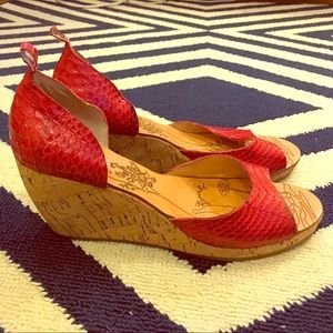 Red, Dolce Vita wedge sandals.