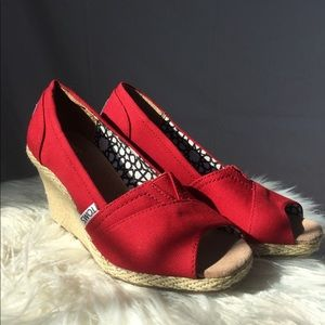 TOMS Calypso red peep toe canvas wedges