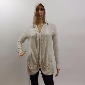 AEO Cream  Open Knit Hooded Cardigan Sweater NEW