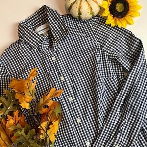 J. Crew Stretch Perfect Shirt Navy Gingham