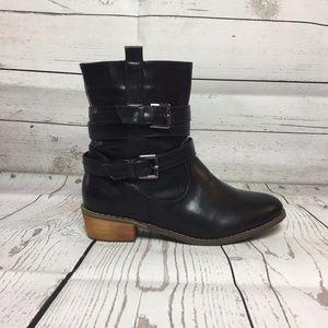 Shoes - New Black Double Belt Short Heel SlipOn Ankle Boot