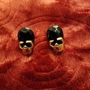 Goldtone & Black Crystal 💀 Skull Earrings