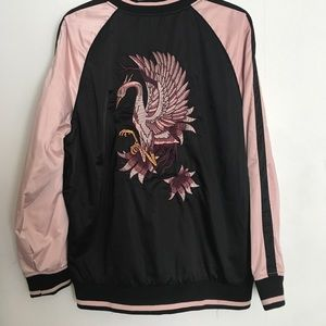 Cotton On Satin Bomber with embroidered back EUC