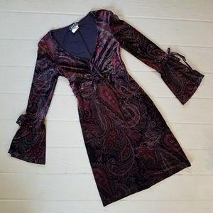 Vintage 90s Velvet Paisley Print Boho Dress