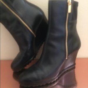 Michael Kors Black Leather Wedge Zip Booties