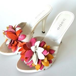 bebe White Sandles Accented with Leather Flowers