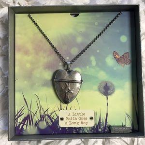 """Heart Cross Locket Silver Chain 32"""" Necklace"""